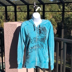 FOX HoodieTeal Zip Up Cotton Sweatshirt Size S